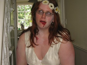 Me, dressed as a zombie bridesmaid, about to head out