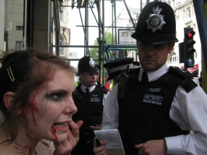 Zombies being stopped and searched under Section 60 of the Criminal Justice and Public Order Act 1994