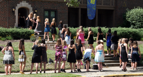 "A ""sorority rush"" queue on Purdue University's Panhellenic Association Sorority Formal Recruitment day. Apparently even if you can pronounce all that in one go without stumbling, you *still* don't necessarily get in."