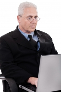 businessman at a laptop