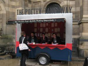 Poetry Takeaway Burger Van outside the Gulded Balloon at the Edinburgh Fringe