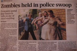 Zombies in the Evening Standard newspaper