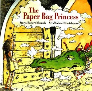 Cover art for The Paper Bag Princess: a large green dragon leers tiredly at a thin blonde young woman wearing a battered crown and a paper bag for a dress. Image shared under Fair Use guidelines.