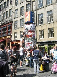 Image of flyering on the Royal Mile in Edinburgh