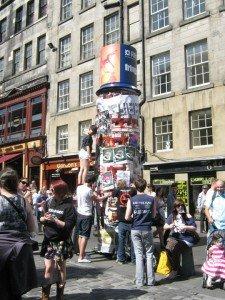 Image of flyering on the Royal Mile in Edinburgh