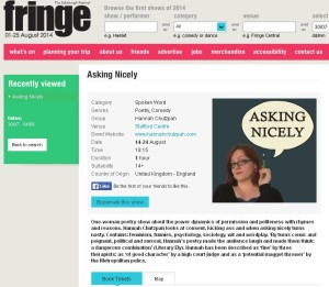 Fringe listing  fro Asking Nicely poetry show (click through)